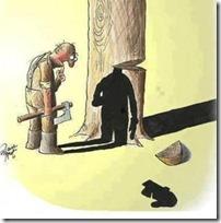 Slika 2. Karikatura  - pretjerana sječa drveta